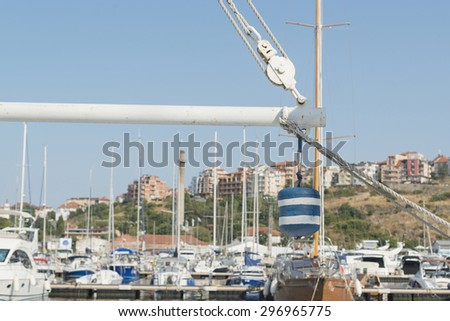 boat deatil mast in a port - stock photo