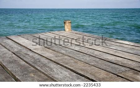 Boat dock on Caye Caulker in Belize - stock photo