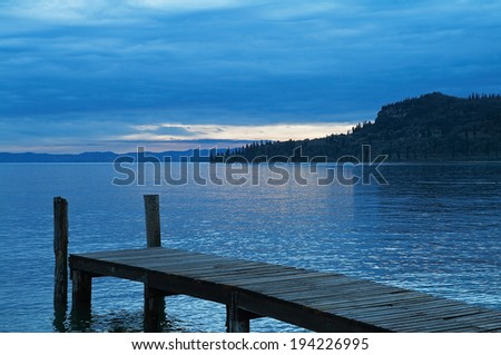 Boat dock on Lake Garda, Italy - stock photo