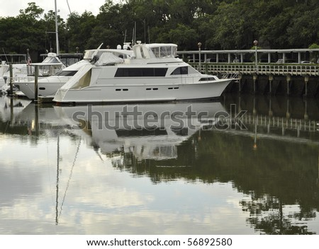 Boat docked in Shelter Cove Marina on Hilton Head Island, South Carolina.