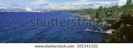 Boat Docks In Wintertime, Lake Tahoe, Nevada - stock photo