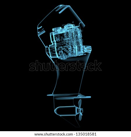 Boat engine (3D xray blue transparent isolated on black background)