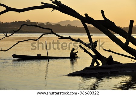 Boat Fisherman River Landscape Thailand - stock photo