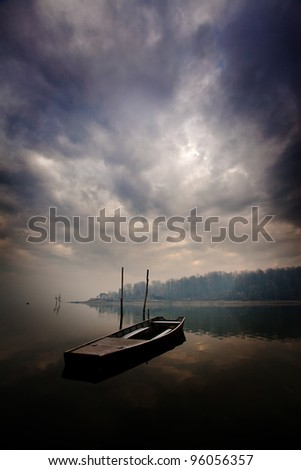 boat,forest and clouds