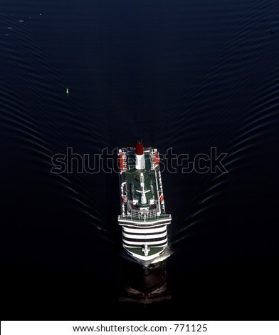 Boat from above - stock photo