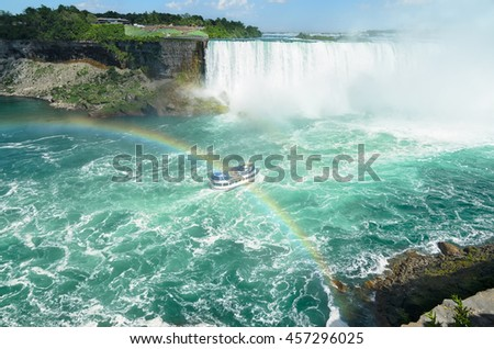 Boat full with tourist passing under double rainbow on the way to Niagara falls