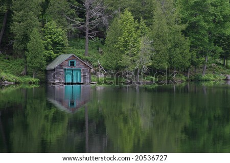 Boat garage on a lake near Mt-Tremblant, Quebec,Canada.