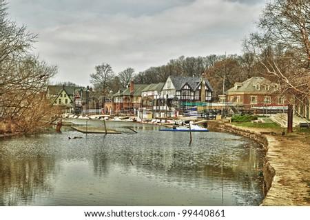 boat house along the Schuylkill River - stock photo