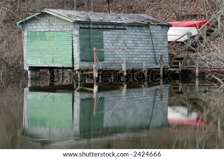 boat house horizontal - stock photo