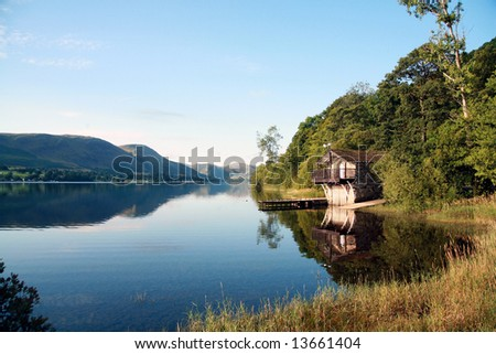 Boat House on Ullswater in the Lake District, Cumbia (England) - stock photo
