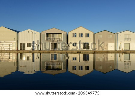 Boat house reflection