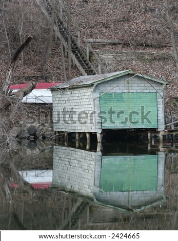 boat house vertical - stock photo