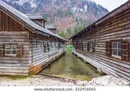 boat houses at the lake Koenigssee, Bavaria, Germany - stock photo