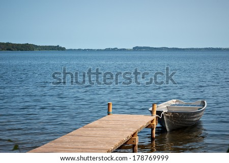boat in a lake - stock photo