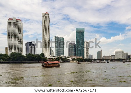Boat in Chao Praya River at Bangkok, Thailand.