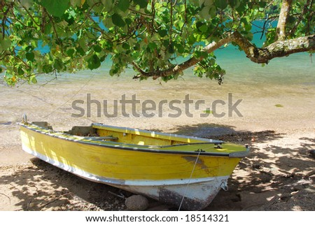 Boat in Cook's Bay, Moorea - stock photo