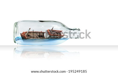 Boat in Glass bottle (Surreal concept) - stock photo