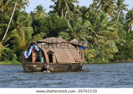 Boat in Kerala Backwaters, South India - stock photo