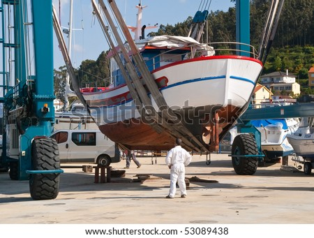 Boat in maintenance - stock photo