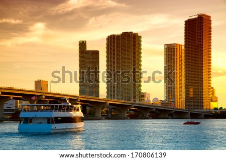 Boat in the Atlantic ocean, Venetian Causeway, Venetian Islands, Biscayne Bay, Miami, Florida, USA - stock photo