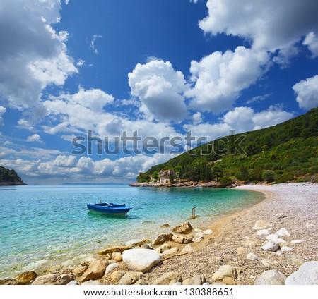 boat in the bay. Croatia. - stock photo