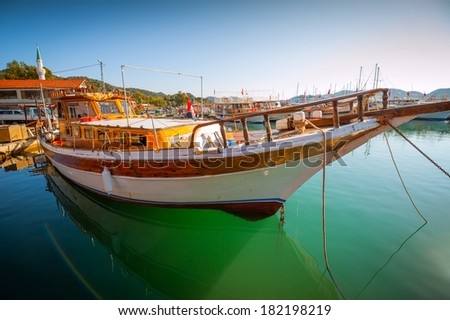 boat in the bay in the Mediterranean - stock photo