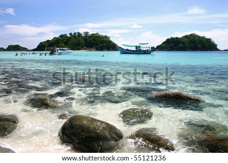 Boat in the Beach, Thailand - stock photo