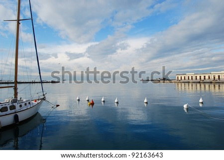 Boat in the gulf of Trieste (Italy) - stock photo