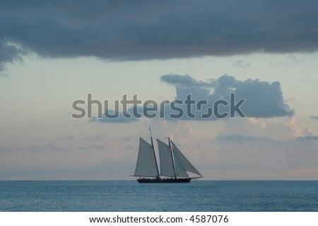 Boat in the sea, Keys West islands, Florida - stock photo