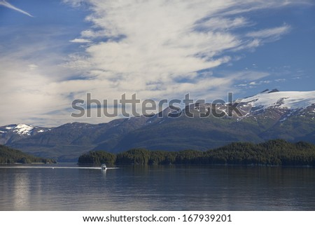 boat in Tracy Arm Fjord - stock photo