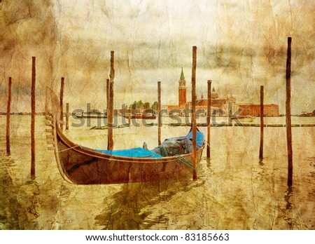 Boat in Venice in gloomy weather in grunge style. Italy - stock photo