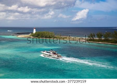 Boat. Lighthouse. Paradise Island. Nassau. Bahamas. - stock photo