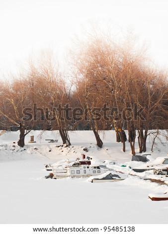 Boat marina and iced river, Belgrade, Serbia - stock photo