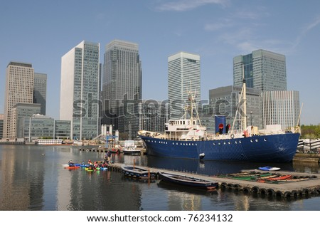 Boat moored in West India Docks - stock photo
