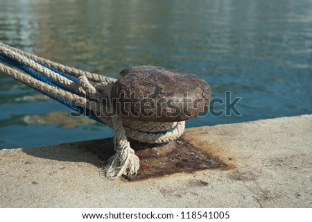 Boat mooring in spanish port - stock photo