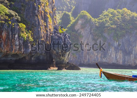 Boat near Phi Phi Islands