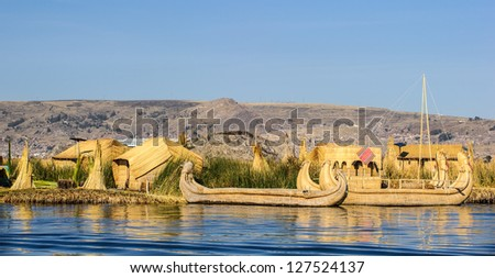 Boat of the touristic place of  Uros, lake Titicaca, Peru, South America.