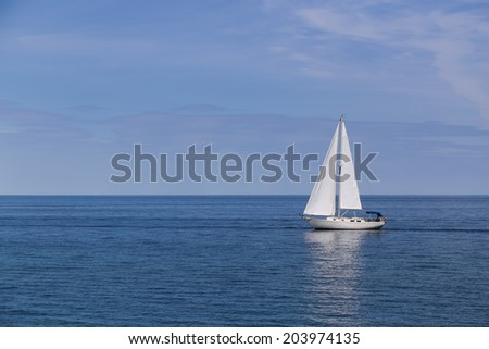 Boat on a lake with copy space