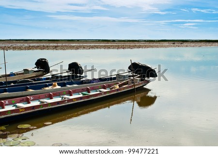 boat on a local lagoon at Phatthalung, Thailand