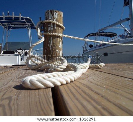boat on a rope - stock photo