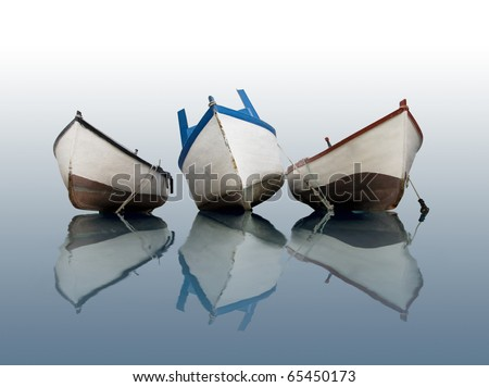 Boat on calm water - stock photo