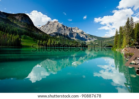 Boat on Emerald Lake, Yoho National Park,  British Columbia, Canada