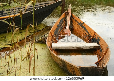 Boat on lake - stock photo