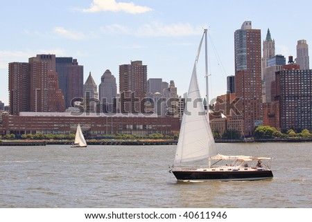 Boat on New York - stock photo