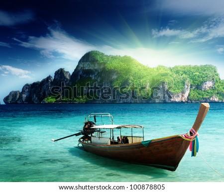boat on Phi Phi island Thailand - stock photo