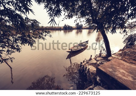 Boat on river, Hue, Vietnam