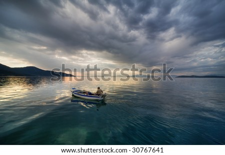 boat on sea on a stormy weather
