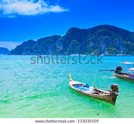Boat on sea Phi Phi island Thailand - stock photo