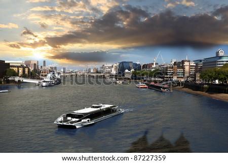 Boat on Thame in London, UK - stock photo