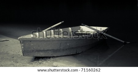 boat on the bank of river